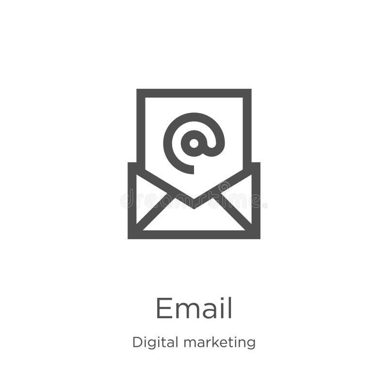 vecteur d'icône d'email de la collection de commercialisation numérique Ligne mince illustration de vecteur d'ic?ne d'ensemble d' illustration stock