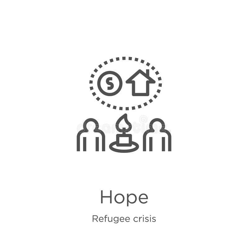 vecteur d'icône d'espoir de collection de crise de réfugié Ligne mince illustration de vecteur d'icône d'ensemble d'espoir Contou illustration stock