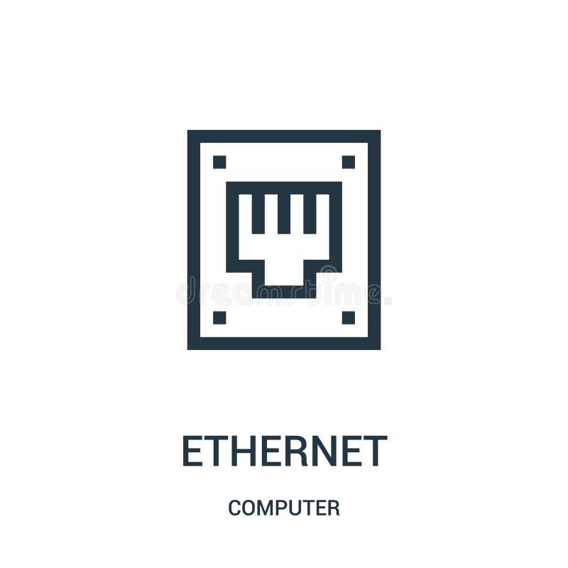 vecteur d'icône d'Ethernet de collection d'ordinateur Ligne mince illustration de vecteur d'ic?ne d'ensemble d'Ethernet illustration stock