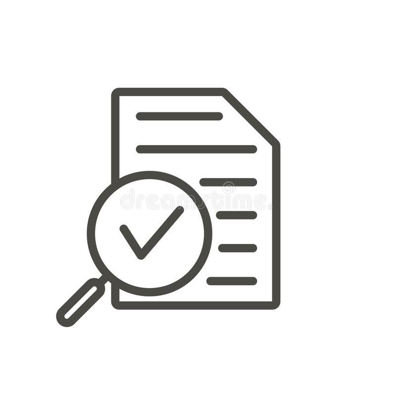 Vecteur d'icône d'examen Ligne symbole de recherches d'isolement O plat à la mode illustration de vecteur