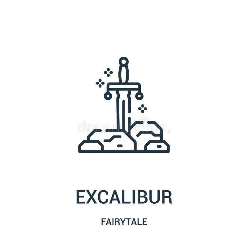 vecteur d'icône d'excalibur de collection de conte de fées Ligne mince illustration de vecteur d'icône d'ensemble d'excalibur illustration libre de droits