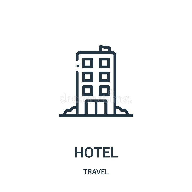 vecteur d'icône d'hôtel de collection de voyage Ligne mince illustration de vecteur d'icône d'ensemble d'hôtel Symbole linéaire p illustration stock