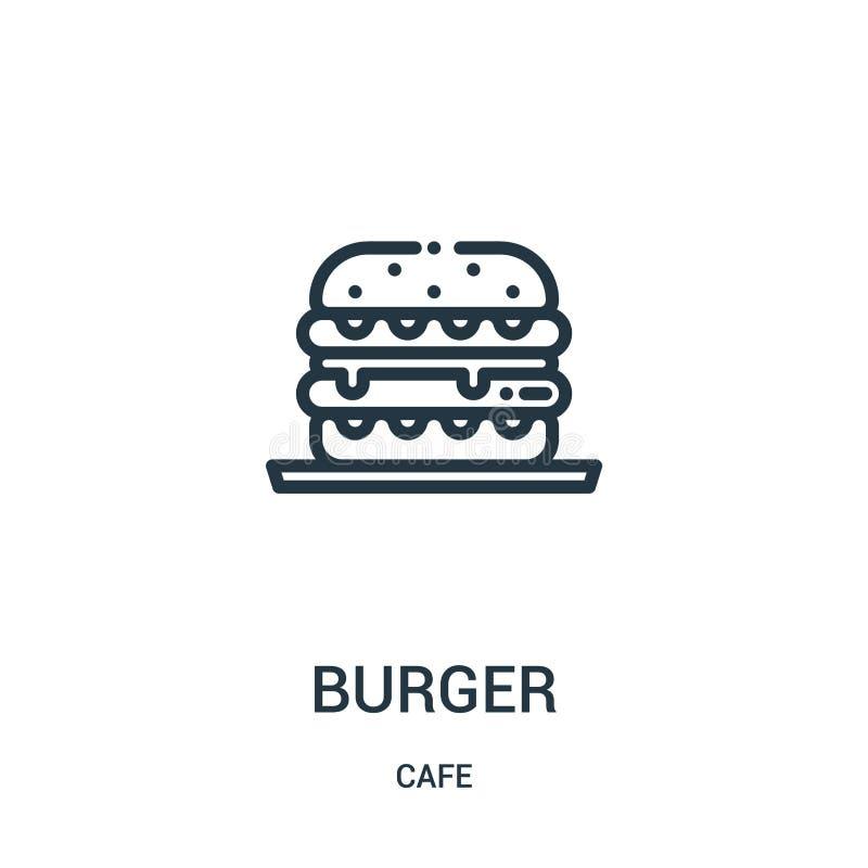 vecteur d'icône d'hamburger de collection de café Ligne mince illustration de vecteur d'ic?ne d'ensemble d'hamburger Symbole lin? illustration stock
