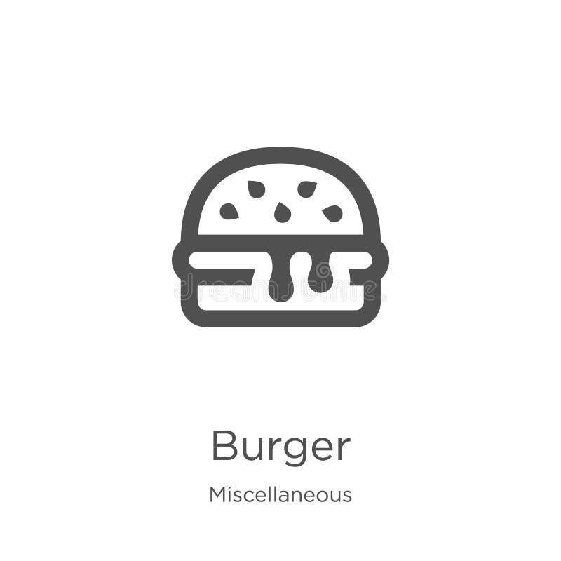 vecteur d'icône d'hamburger de la collection diverse Ligne mince illustration de vecteur d'ic?ne d'ensemble d'hamburger Contour,  illustration de vecteur