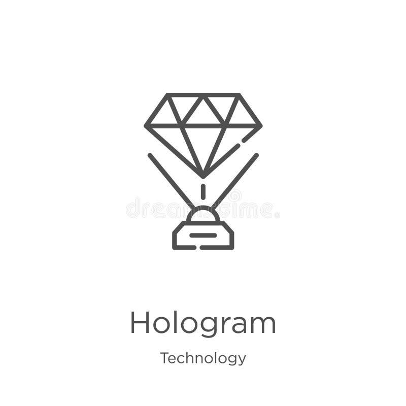 vecteur d'icône d'hologramme de collection de technologie r Contour, ligne mince hologramme illustration libre de droits