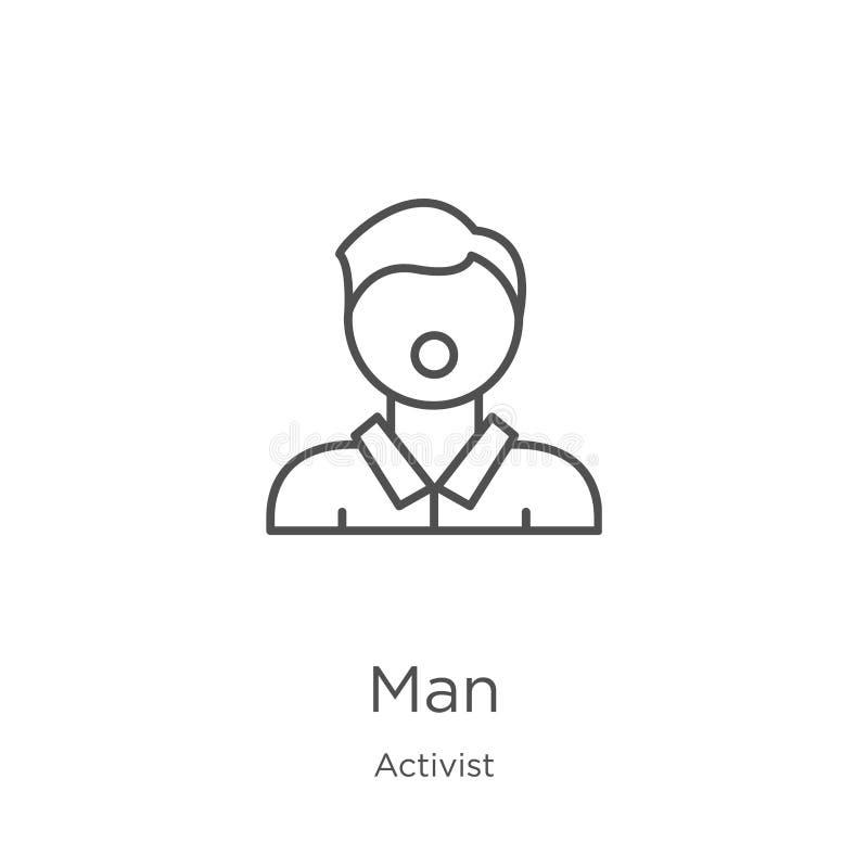 vecteur d'icône d'homme de collection d'activiste Ligne mince illustration de vecteur d'icône d'ensemble d'homme Contour, ligne m illustration libre de droits