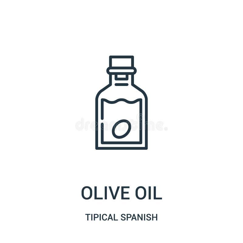 vecteur d'icône d'huile d'olive de la collection espagnole tipical Ligne mince illustration de vecteur d'icône d'ensemble d'huile illustration de vecteur