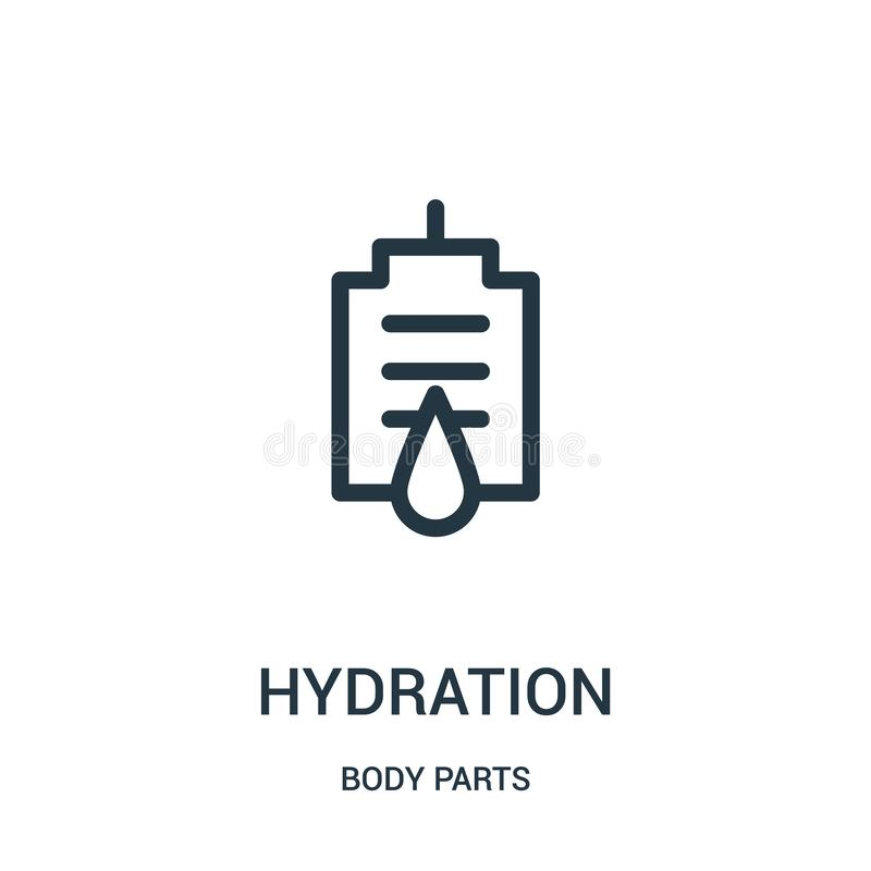 vecteur d'icône d'hydratation de collection de parties du corps Ligne mince illustration de vecteur d'icône d'ensemble d'hydratat illustration stock