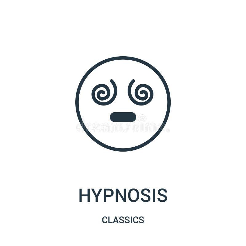 vecteur d'icône d'hypnose de collection de classiques Ligne mince illustration de vecteur d'icône d'ensemble d'hypnose Symbole li illustration stock