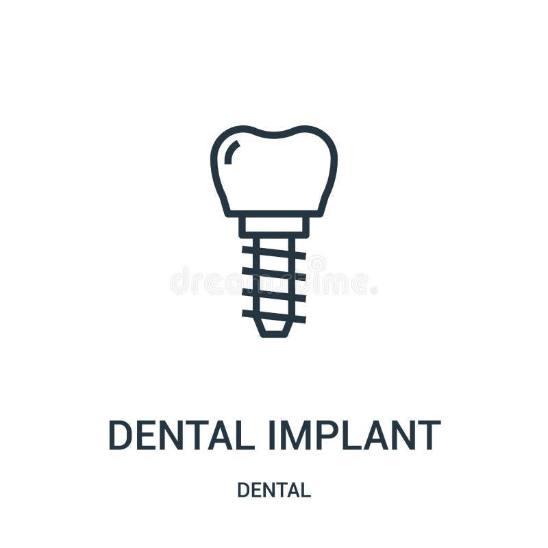 vecteur d'icône d'implant dentaire de la collection dentaire Ligne mince illustration de vecteur d'icône d'ensemble d'implant den illustration stock