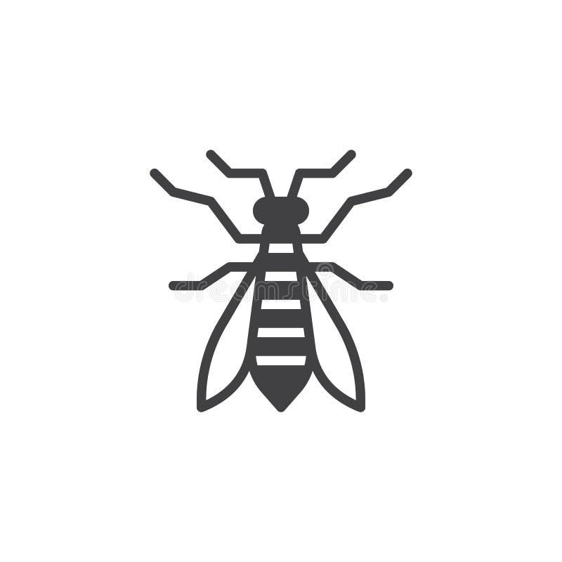 Vecteur d'icône d'insecte de guêpe illustration stock