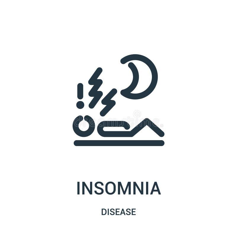 vecteur d'icône d'insomnie de collection de la maladie Ligne mince illustration de vecteur d'icône d'ensemble d'insomnie Symbole  illustration stock