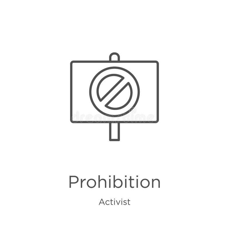 vecteur d'icône d'interdiction de collection d'activiste Ligne mince illustration de vecteur d'icône d'ensemble d'interdiction Co illustration libre de droits