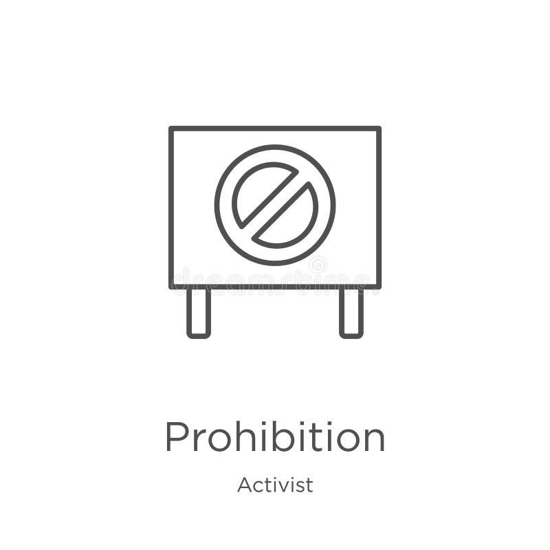 vecteur d'icône d'interdiction de collection d'activiste Ligne mince illustration de vecteur d'icône d'ensemble d'interdiction Co illustration de vecteur