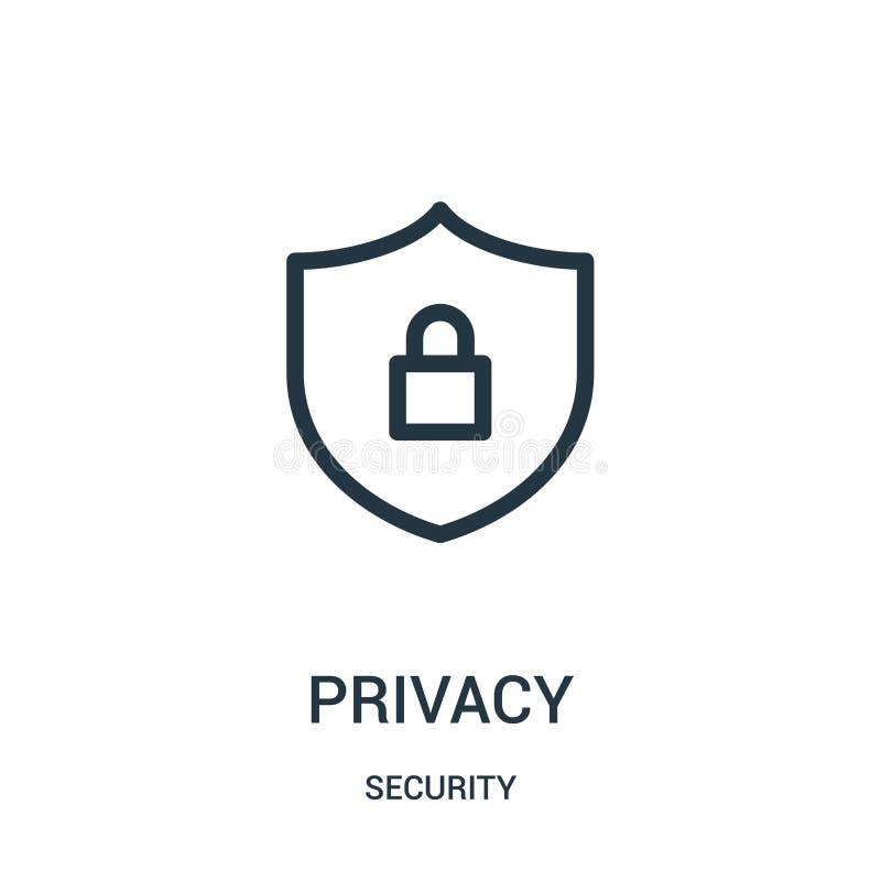 vecteur d'icône d'intimité de collection de sécurité Ligne mince illustration de vecteur d'icône d'ensemble d'intimité illustration stock