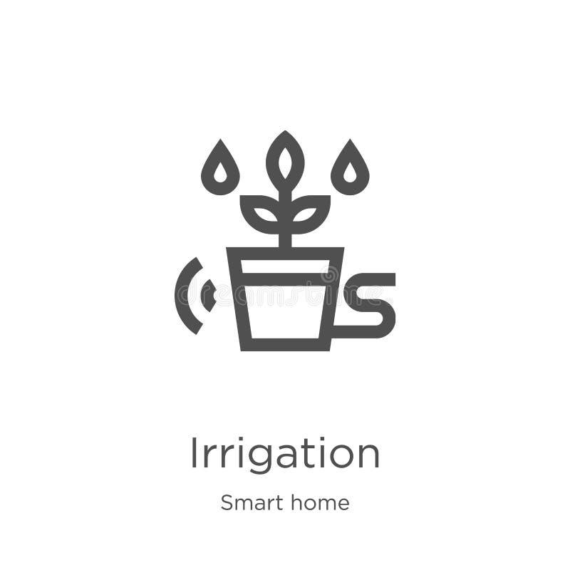 vecteur d'icône d'irrigation de la collection à la maison futée Ligne mince illustration de vecteur d'icône d'ensemble d'irrigati illustration de vecteur