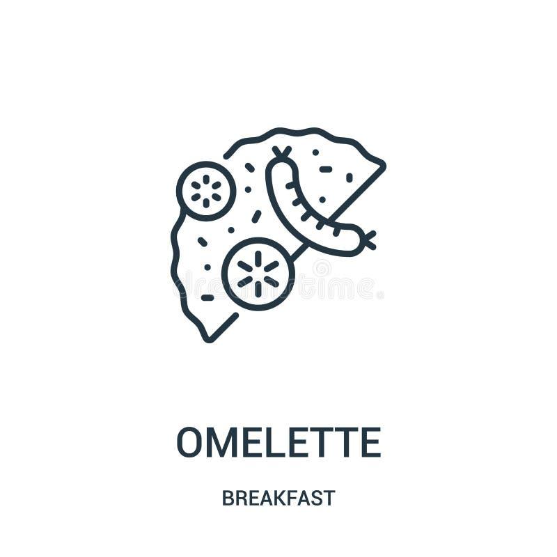 vecteur d'icône d'omelette de collection de petit déjeuner Ligne mince illustration de vecteur d'icône d'ensemble d'omelette Symb illustration stock