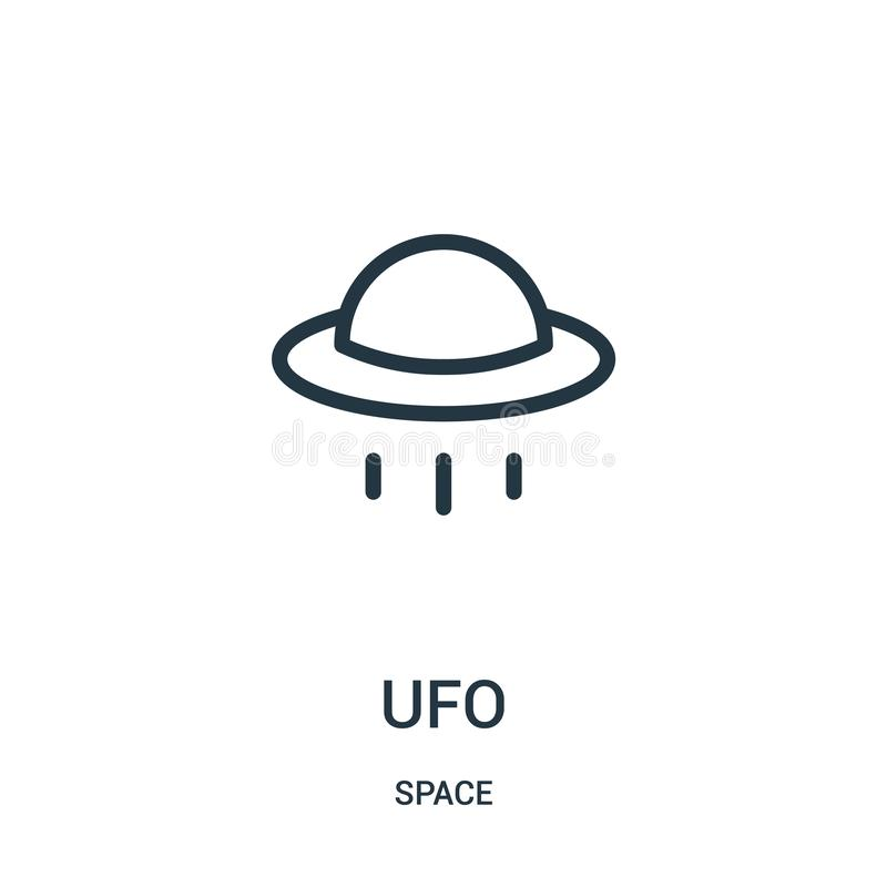 vecteur d'icône d'UFO de collection de l'espace Ligne mince illustration de vecteur d'icône d'ensemble d'UFO illustration stock