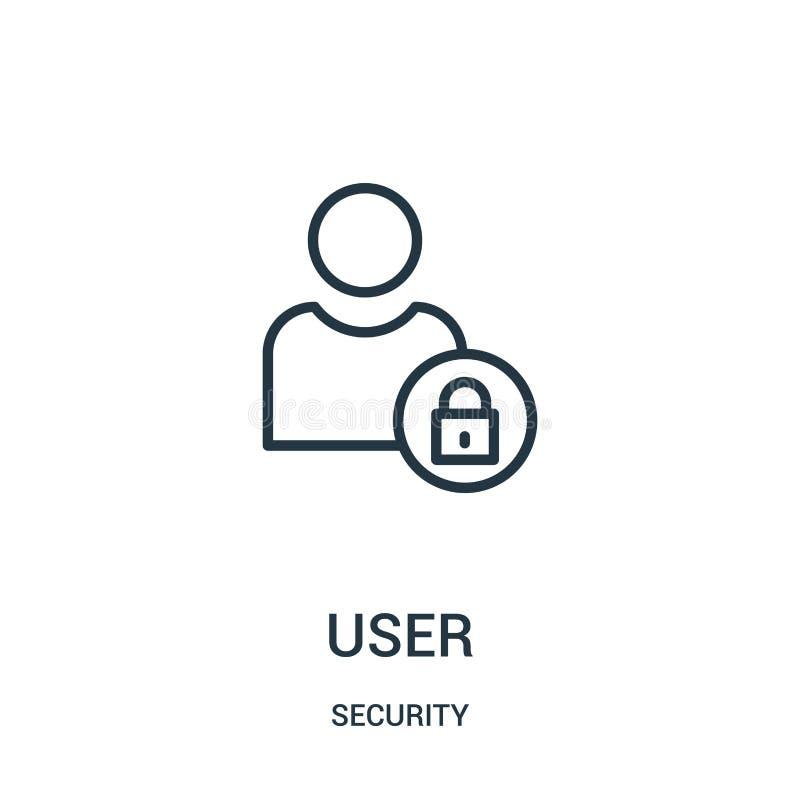 vecteur d'icône d'utilisateur de collection de sécurité Ligne mince illustration de vecteur d'ic?ne d'ensemble d'utilisateur Symb illustration libre de droits