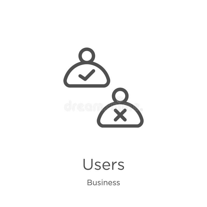 vecteur d'icône d'utilisateurs de collection d'affaires Ligne mince illustration de vecteur d'ic?ne d'ensemble d'utilisateurs Con illustration stock