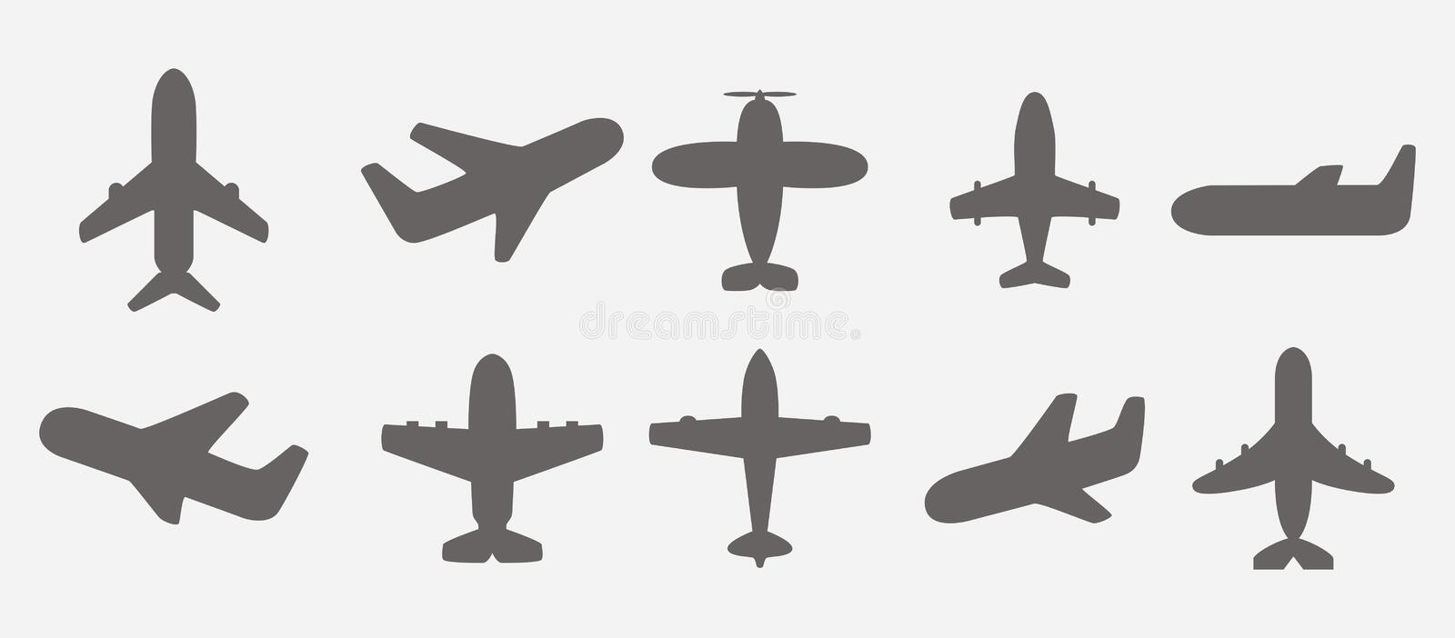 Vecteur d'icônes d'avion illustration stock