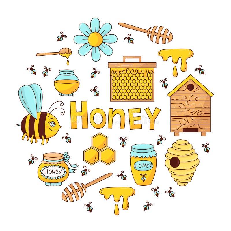 Vecteur d'icônes de bande dessinée de griffonnage d'abeille de miel illustration stock