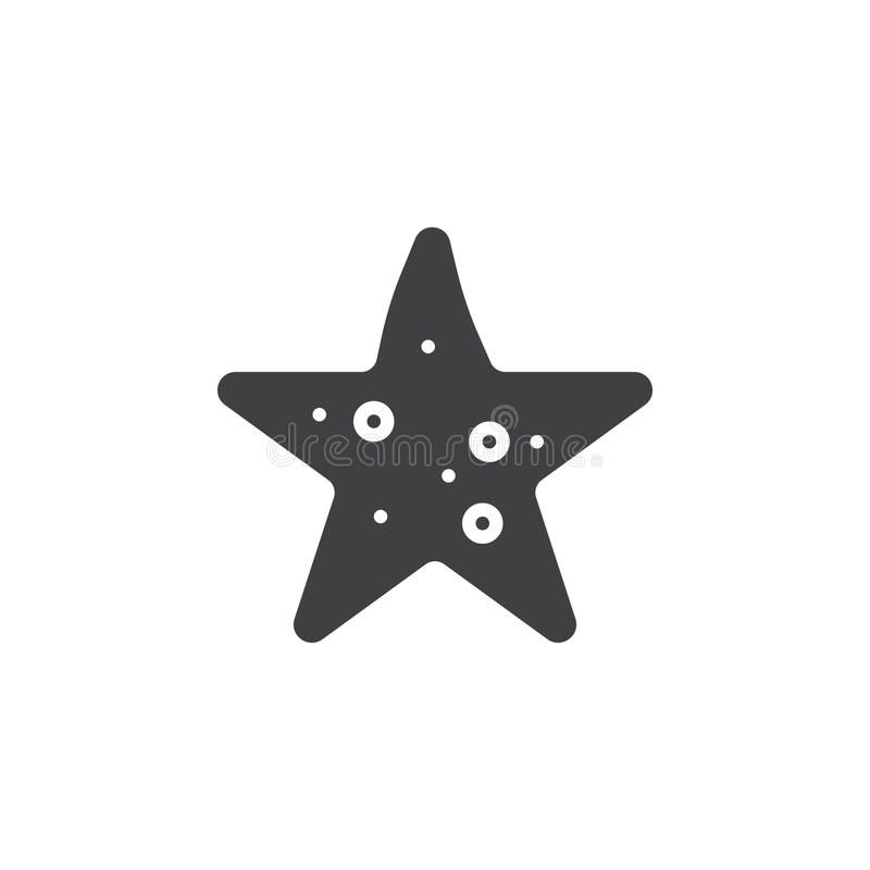 Vecteur d'icône d'étoiles de mer, signe plat rempli illustration stock