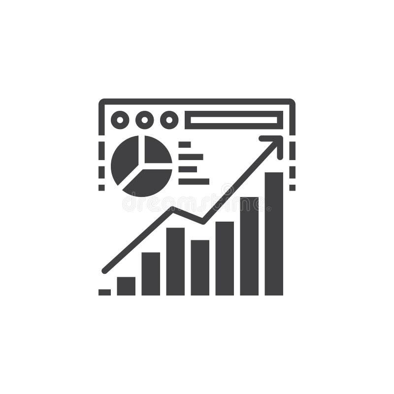 Vecteur d'icône d'analyse de trafic de site Web, signe plat rempli, pi solide illustration libre de droits