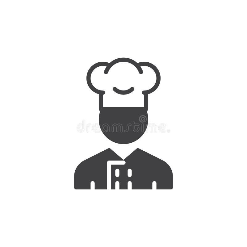 Vecteur d'icône d'homme de cuiseur, signe plat rempli illustration de vecteur