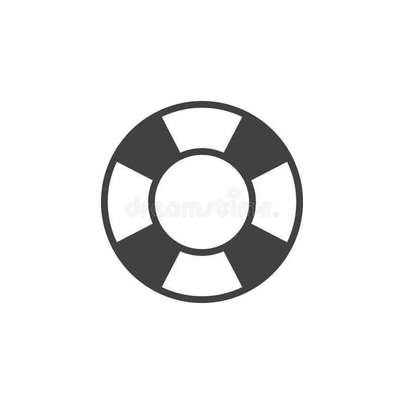 Vecteur d'icône de bouée de sauvetage, signe plat rempli, pictogramme solide d'isolement sur le blanc illustration de vecteur