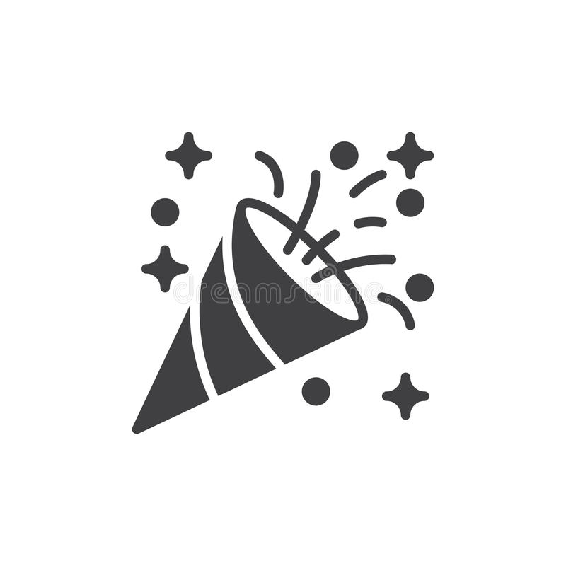Vecteur D'icône De Bouton-pression De Confettis, Signe Plat Rempli, Pictogramme Solide D ...