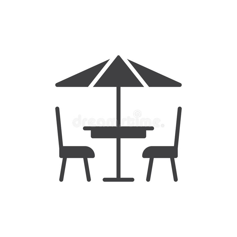 Vecteur d'icône de café de terrasse, signe plat rempli illustration de vecteur