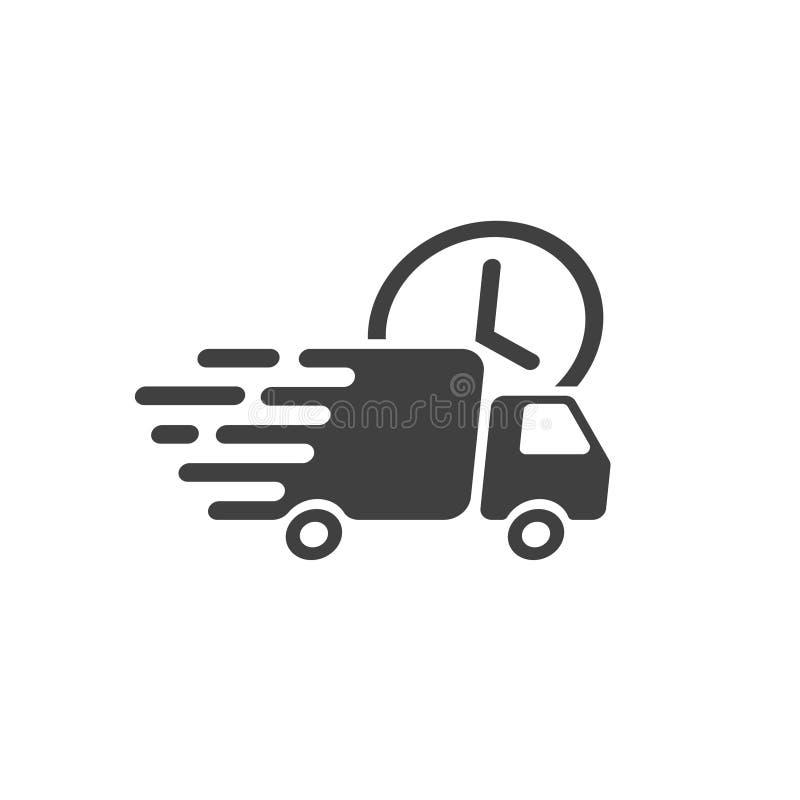 Vecteur d'icône de camion de livraison, fourgon rapide de cargaison d'expédition, transport de messager illustration libre de droits