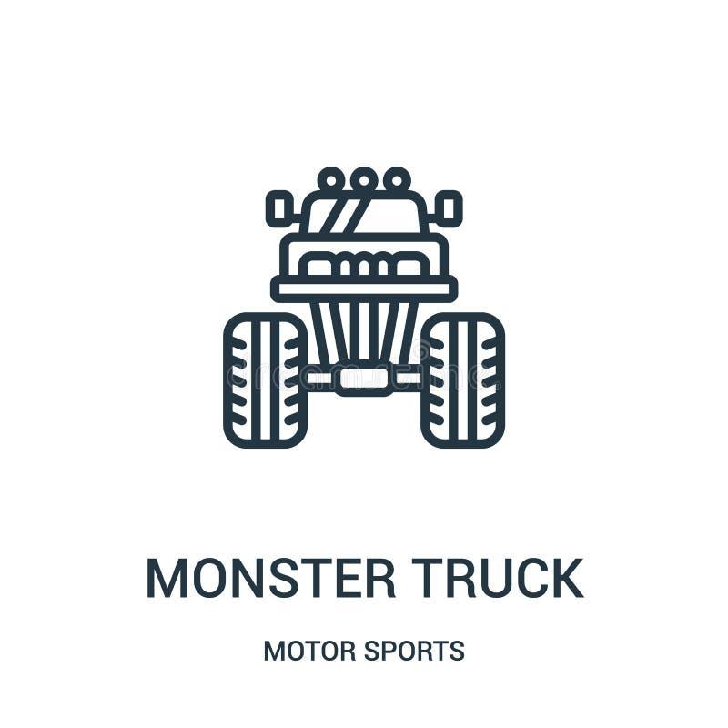 vecteur d'ic?ne de camion de monstre de collection de sports automobiles Ligne mince illustration de vecteur d'ic?ne d'ensemble d illustration de vecteur