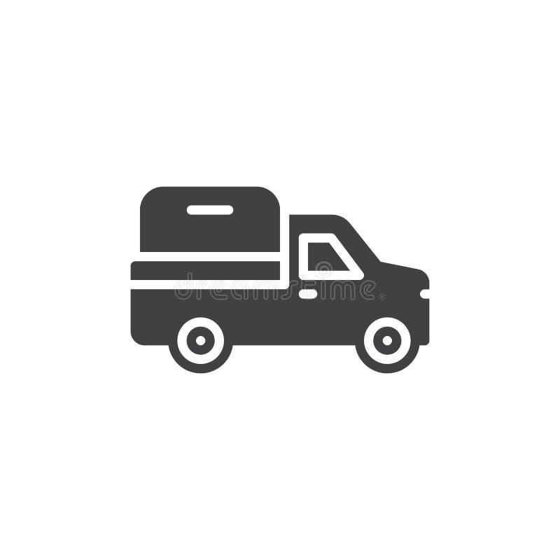 Vecteur d'icône de camion pick-up, signe plat rempli, pictogramme solide d'isolement sur le blanc Symbole, illustration de logo illustration libre de droits