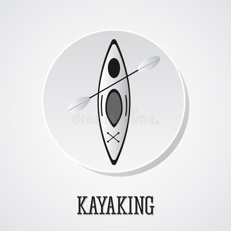 Vecteur d'icône de canoë Illustration de kayak sur un bouton argenté Icône et insigne d'été Ombre illustration stock