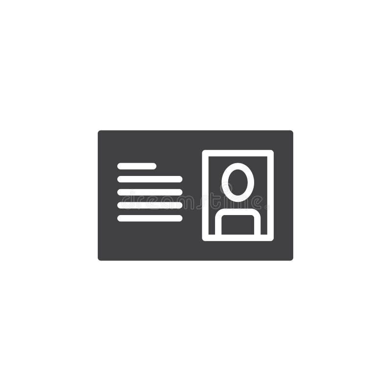 Vecteur d'icône de carte d'identification, signe plat rempli, pictogramme solide d'isolement sur le blanc illustration de vecteur