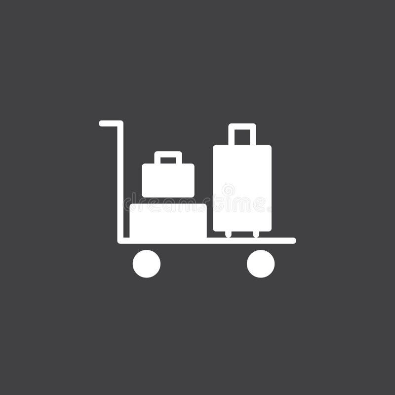 Vecteur d'icône de chariot à bagages, signe plat rempli, pictogramme blanc solide illustration de vecteur