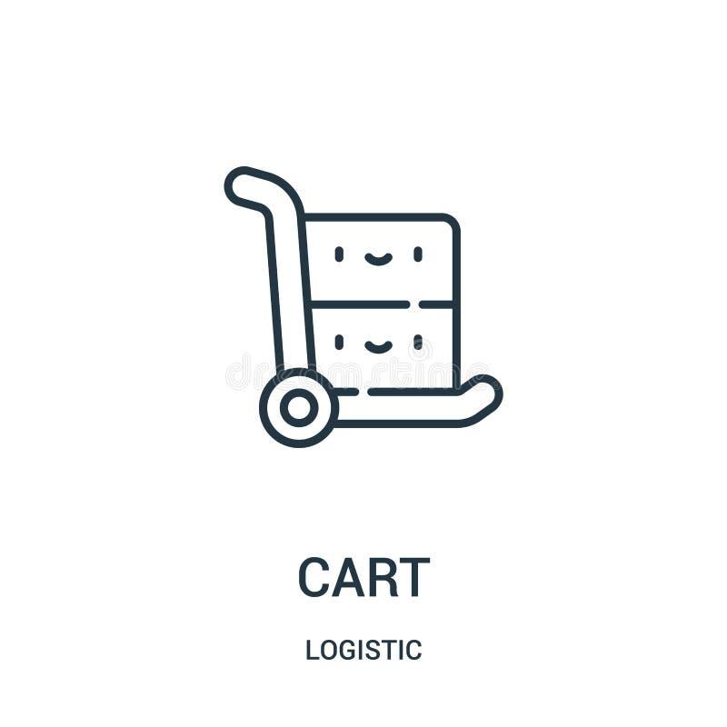vecteur d'ic?ne de chariot de la collection logistique Ligne mince illustration de vecteur d'ic?ne d'ensemble de chariot illustration libre de droits