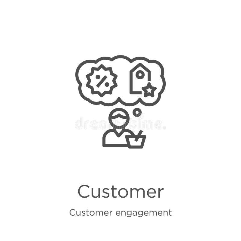 vecteur d'ic?ne de client de collection d'engagement de client Ligne mince illustration de vecteur d'ic?ne d'ensemble de client C illustration de vecteur