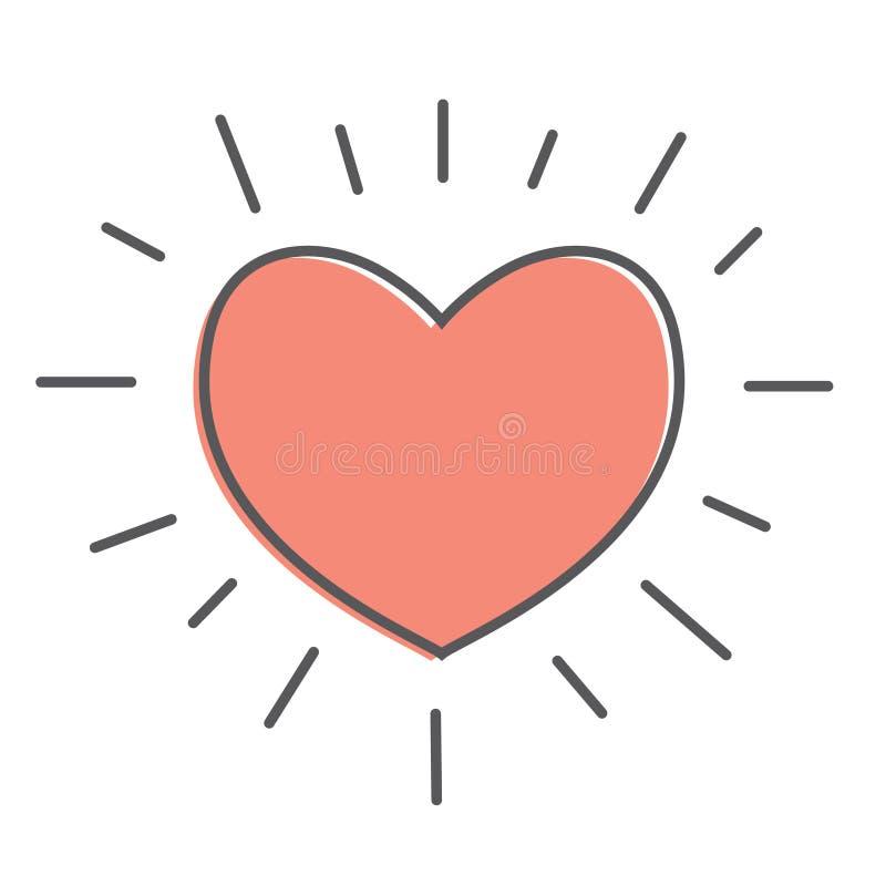 Vecteur d'icône de coeur Symbole de rouge d'amour Emblème d'isolement sur le fond blanc illustration libre de droits