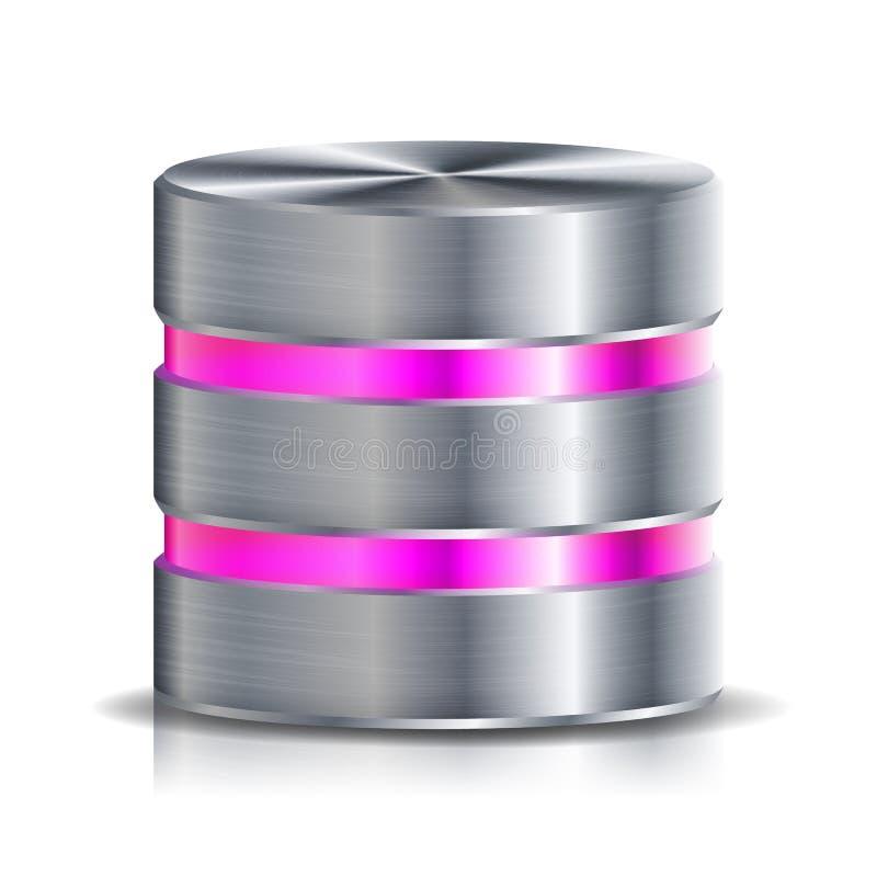 Vecteur d'icône de disque de base de données réseau Illustration fortement détaillée de disque dur d'ordinateur Argent, métal de  illustration stock