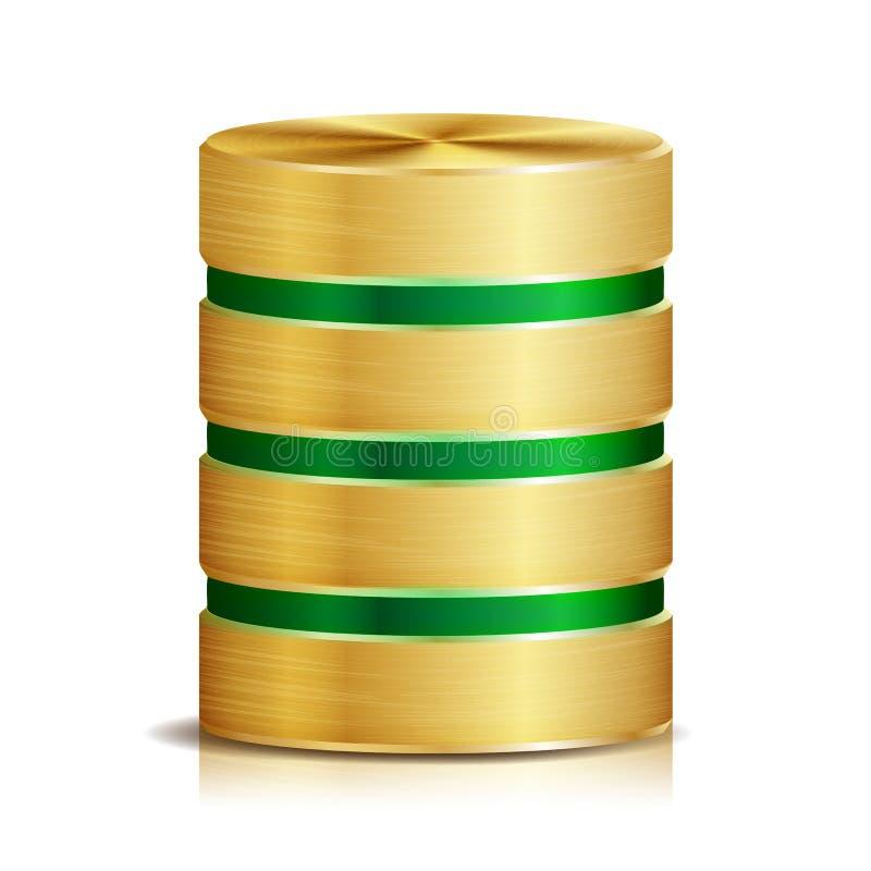 Vecteur d'icône de disque de base de données réseau Illustration réaliste de disque dur d'ordinateur métal d'or Concept de secour illustration stock