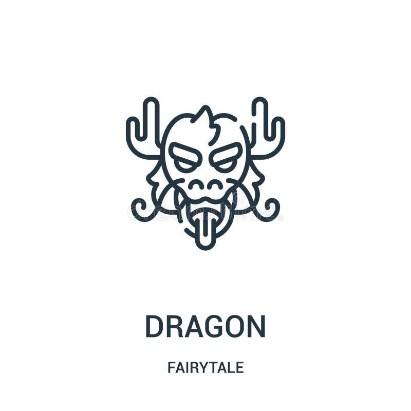 vecteur d'ic?ne de dragon de collection de conte de f?es Ligne mince illustration de vecteur d'ic?ne d'ensemble de dragon illustration stock