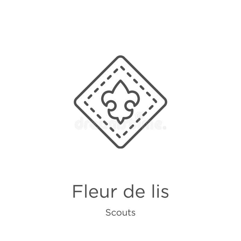 vecteur d'ic?ne de fleur de lis de collection de scouts Illustration mince de vecteur d'ic?ne d'ensemble de line fleur de lis Con illustration libre de droits