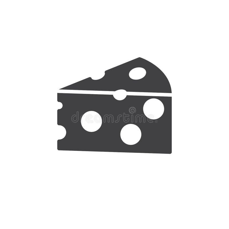 Vecteur d'icône de fromage, signe plat rempli, pictogramme solide d'isolement sur le blanc illustration de vecteur