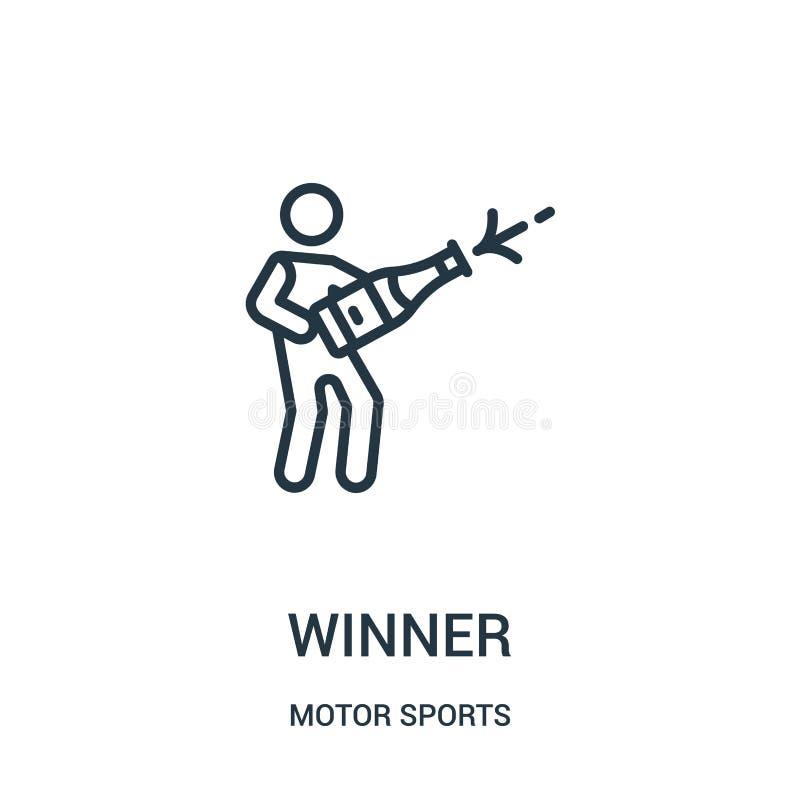 vecteur d'ic?ne de gagnant de collection de sports automobiles Ligne mince illustration de vecteur d'ic?ne d'ensemble de gagnant  illustration stock