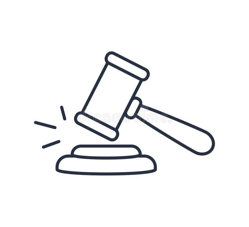 Vecteur d'ic?ne de Gavel Symbole pour l'ordinateur de site Web et le vecteur mobile Logo de juge sur un fond blanc Concept de loi illustration stock