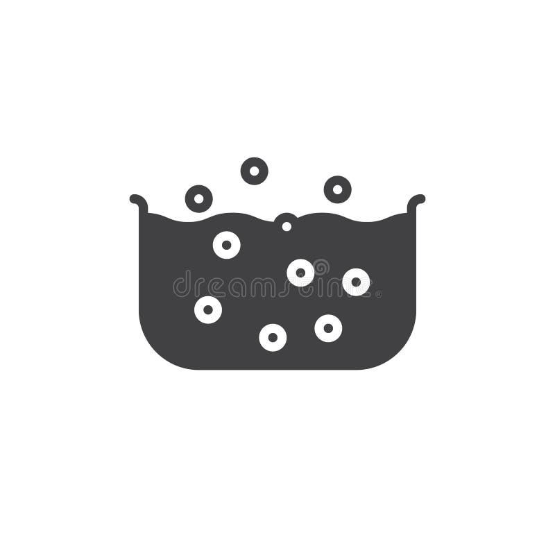 Vecteur d'icône de jacuzzi, signe plat rempli, pictogramme solide d'isolement sur le blanc illustration stock