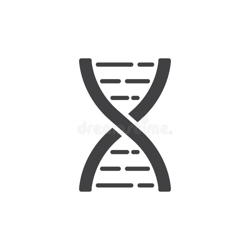 Vecteur d'icône de molécule d'ADN, signe plat rempli, pictogramme solide d'isolement sur le blanc illustration de vecteur